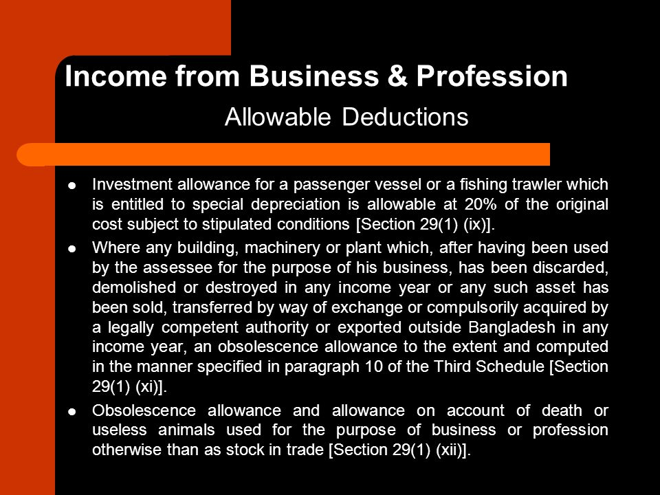 Investment allowance for a passenger vessel or a fishing trawler which is entitled to special depreciation is allowable at 20% of the original cost su