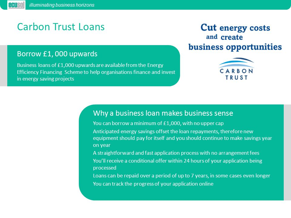 Carbon Trust Loans Business loans of £1,000 upwards are available from the Energy Efficiency Financing Scheme to help organisations finance and invest in energy saving projects You can borrow a minimum of £1,000, with no upper cap Anticipated energy savings offset the loan repayments, therefore new equipment should pay for itself and you should continue to make savings year on year A straightforward and fast application process with no arrangement fees You'll receive a conditional offer within 24 hours of your application being processed Loans can be repaid over a period of up to 7 years, in some cases even longer You can track the progress of your application online illuminating business horizons Borrow £1, 000 upwards Why a business loan makes business sense