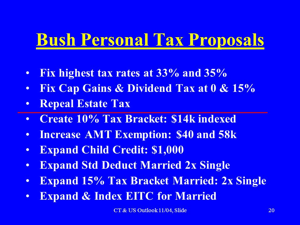 CT & US Outlook 11/04, Slide20 Bush Personal Tax Proposals Fix highest tax rates at 33% and 35% Fix Cap Gains & Dividend Tax at 0 & 15% Repeal Estate