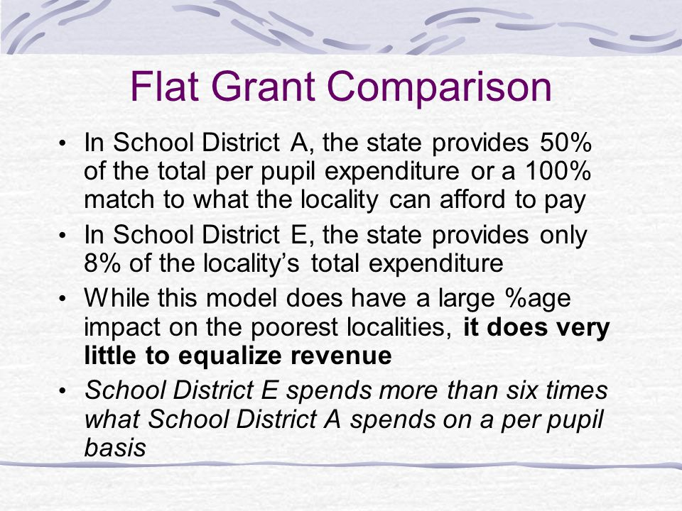 Flat Grants Advantages It can be used in conjunction with other models Every district receives a uniform per student appropriation.