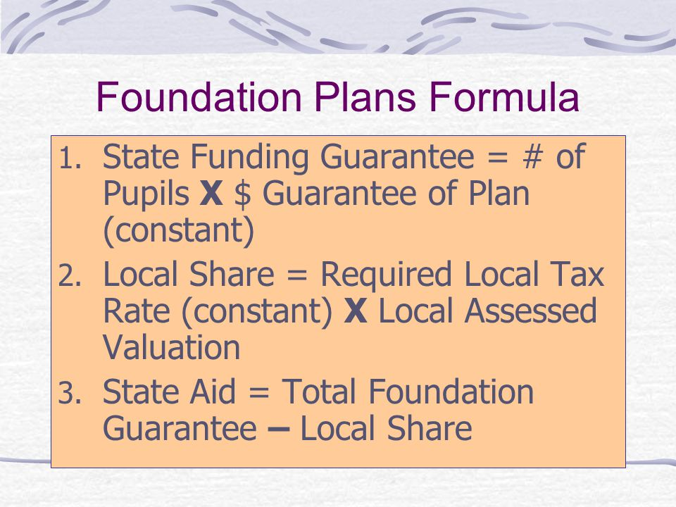 Calculation: Foundation Funding School District Local Required Effort = Per Pupil Equalized Property Value times 10 mills State Share = Guaranteed Foundation minus Required Local Effort A $100,000 x 0.010 = $1,000 $5,000 - $1,000 = $4,000 B $200,000 x 0.010 = $2,000 $5,000 - $2,000 = $3,000 C $250,000 x 0.010 = $2,500 $5,000 - $2,500 = $2,500 D $300,000 x 0.010 = $3,000 $5,000 - $3,000 = $2,000 E $400,000 x 0.010 = $4,000 $5,000 - $4,000 = $1,000