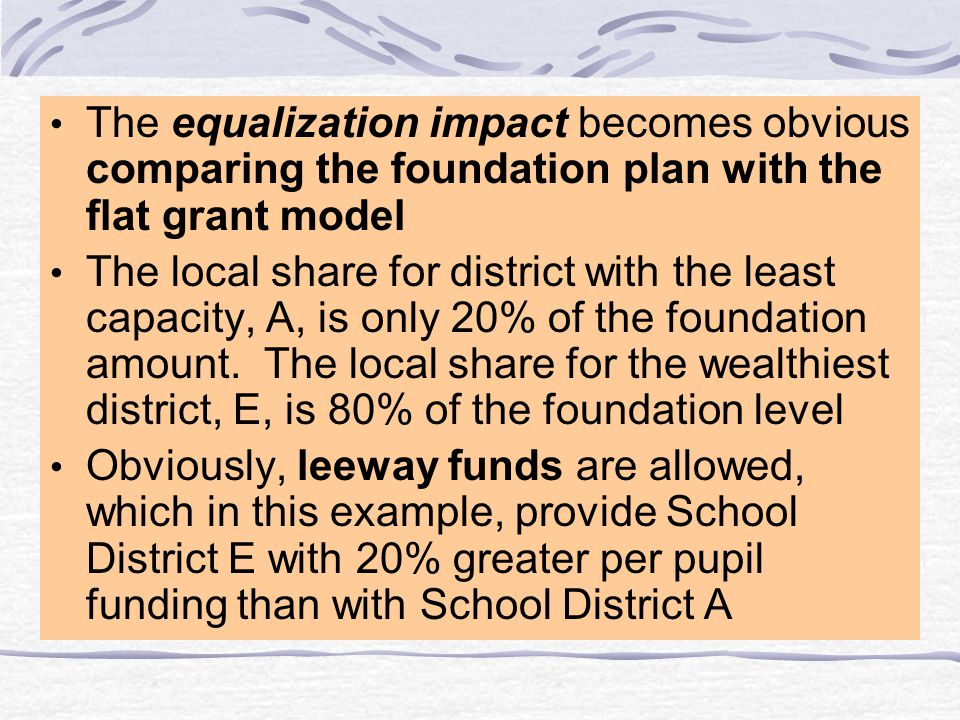Foundation Plan Advantages Equalizing impact towards a state- established minimum foundation level as poorer districts tend to receive more state funding Minimum levels of locally-raised revenue requirements (taxation and spending levels) for the required local effort Allows additional spending (local leeway)