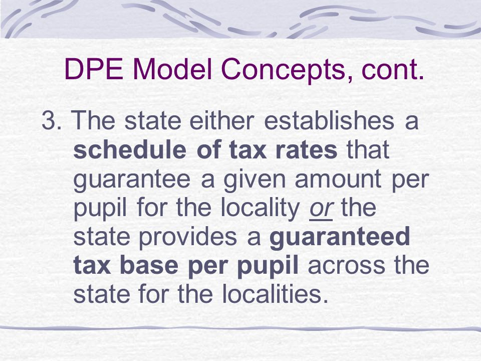 District Power Equalization Formula State Aid = Local Tax Rate X Guaranteed Yield – (Local Assessed Valuation X Local Tax Rate).