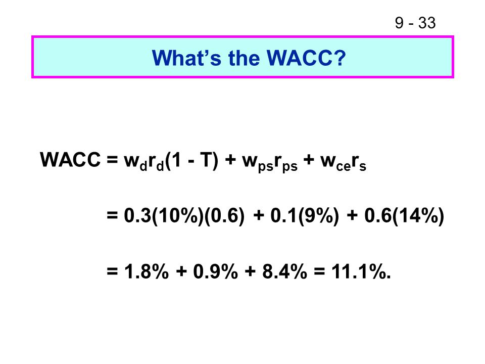 9 - 33 What's the WACC.