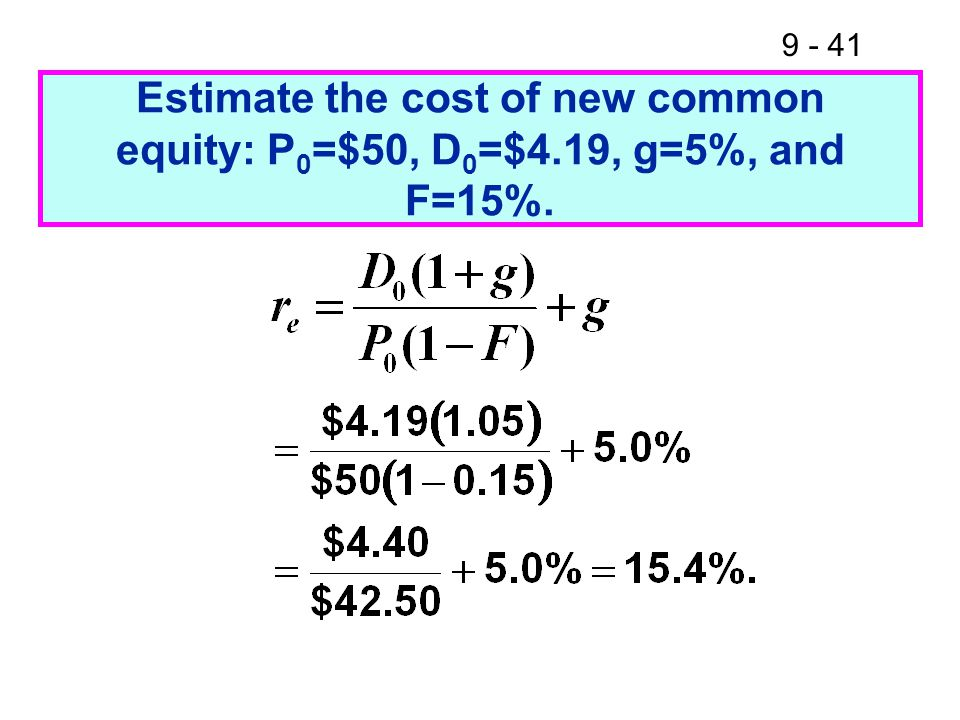 9 - 41 Estimate the cost of new common equity: P 0 =$50, D 0 =$4.19, g=5%, and F=15%.