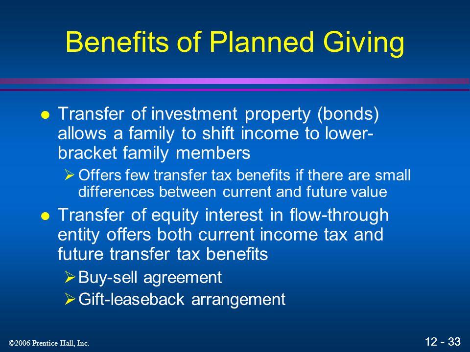 12 - 32 ©2006 Prentice Hall, Inc. GSTT Generation skipping transfer tax applies a separate flat tax at the highest transfer tax rate (47%) when a tran