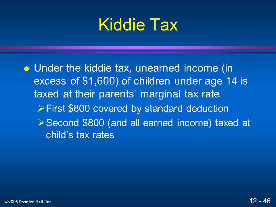 12 - 45 ©2006 Prentice Hall, Inc. Computing Estate Tax Gross estate tax Less: Gift tax on prior gifts Less: Unified credit Less: Other allowable credi