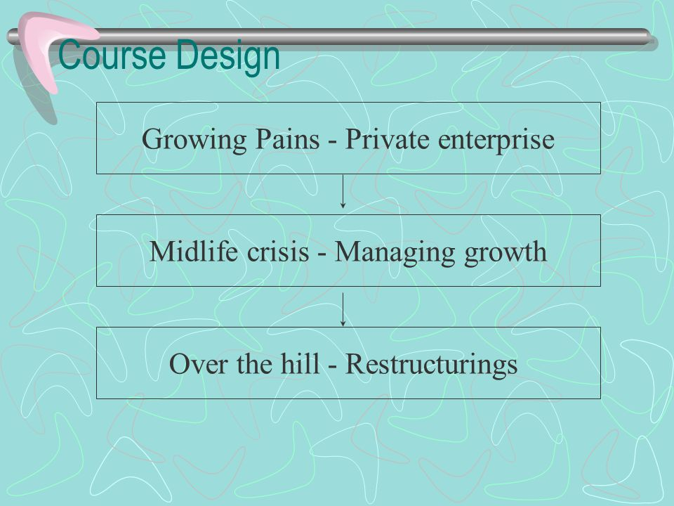 Course Design Growing Pains - Private enterprise Midlife crisis - Managing growth Over the hill - Restructurings