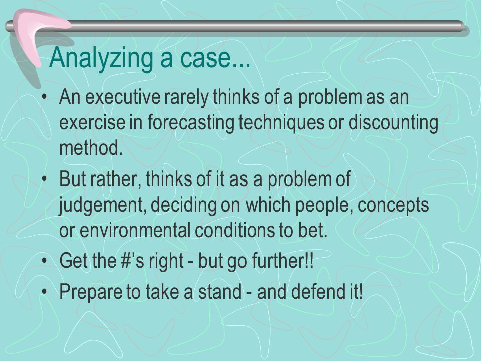 Analyzing a case...