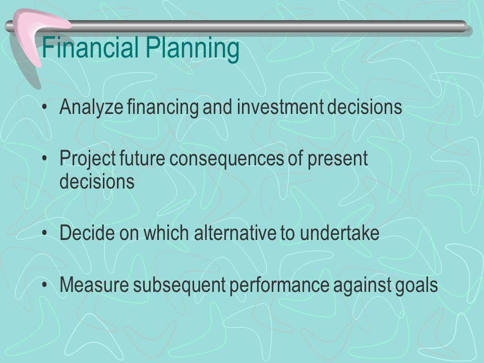 Financial Planning Analyze financing and investment decisions Project future consequences of present decisions Decide on which alternative to undertak