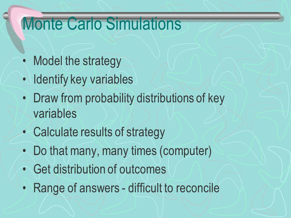 Monte Carlo Simulations Model the strategy Identify key variables Draw from probability distributions of key variables Calculate results of strategy D