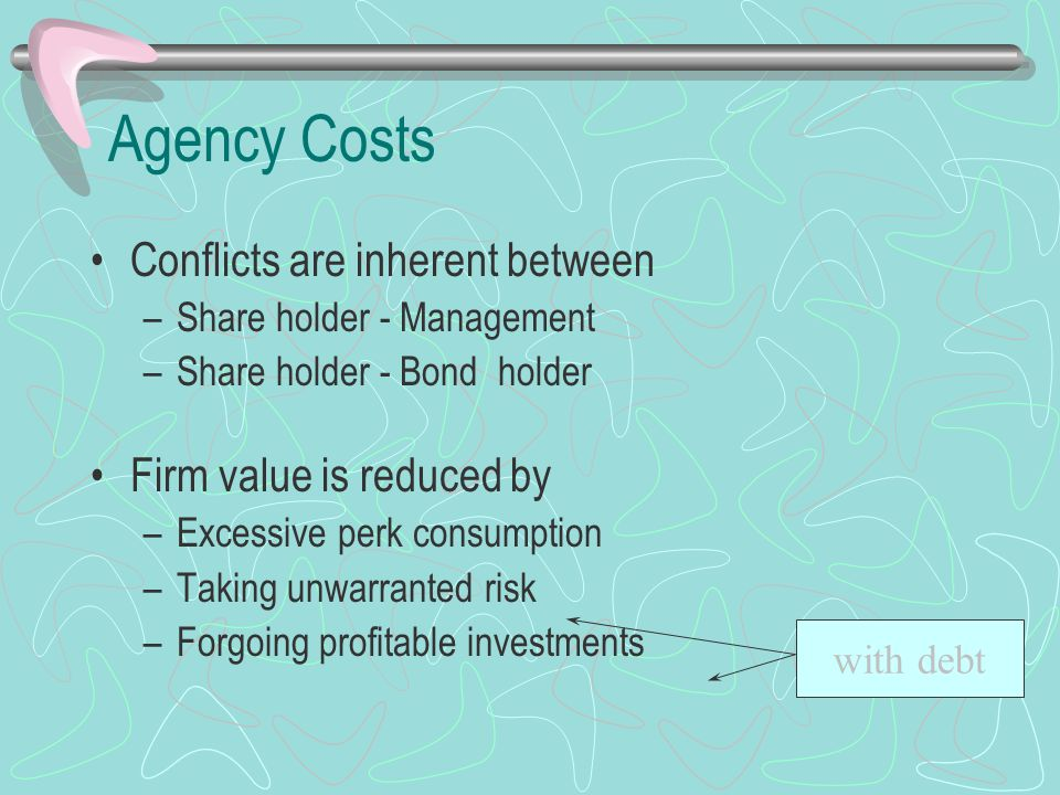Agency Costs Conflicts are inherent between –Share holder - Management –Share holder - Bond holder Firm value is reduced by –Excessive perk consumption –Taking unwarranted risk –Forgoing profitable investments with debt