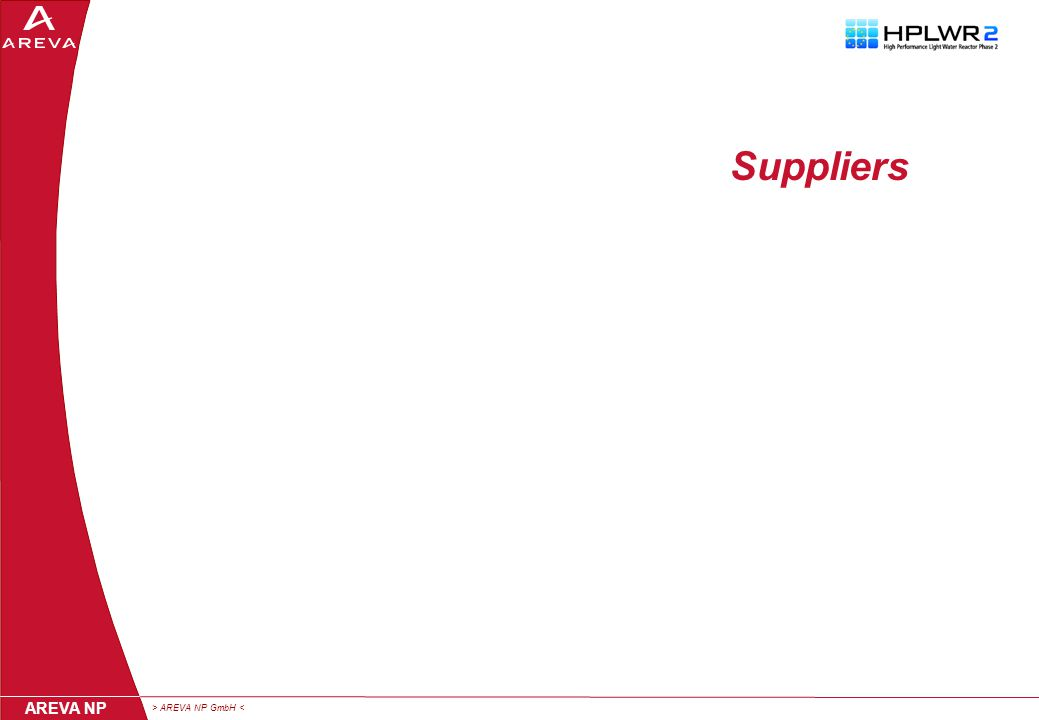 > AREVA NP GmbH < AREVA NP Suppliers