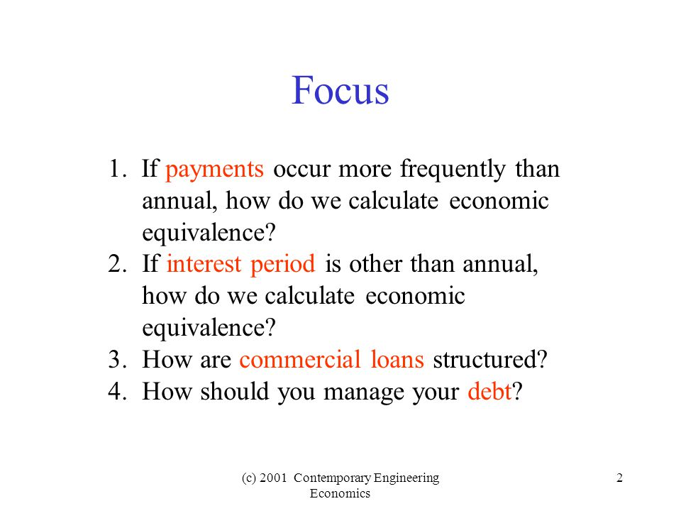 (c) 2001 Contemporary Engineering Economics 33 Add-on Loans Given: You borrow $5,000 for 2 years at an add-on rate of 12% with equal payments due at the end of each month.