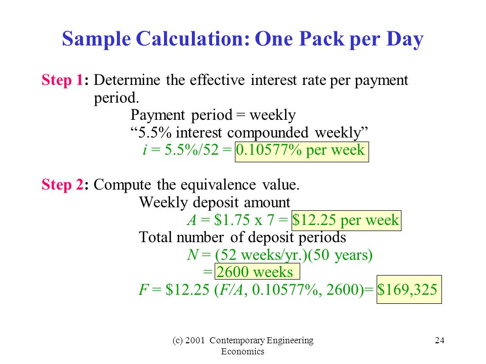 (c) 2001 Contemporary Engineering Economics 24 Sample Calculation: One Pack per Day Step 1: Determine the effective interest rate per payment period.
