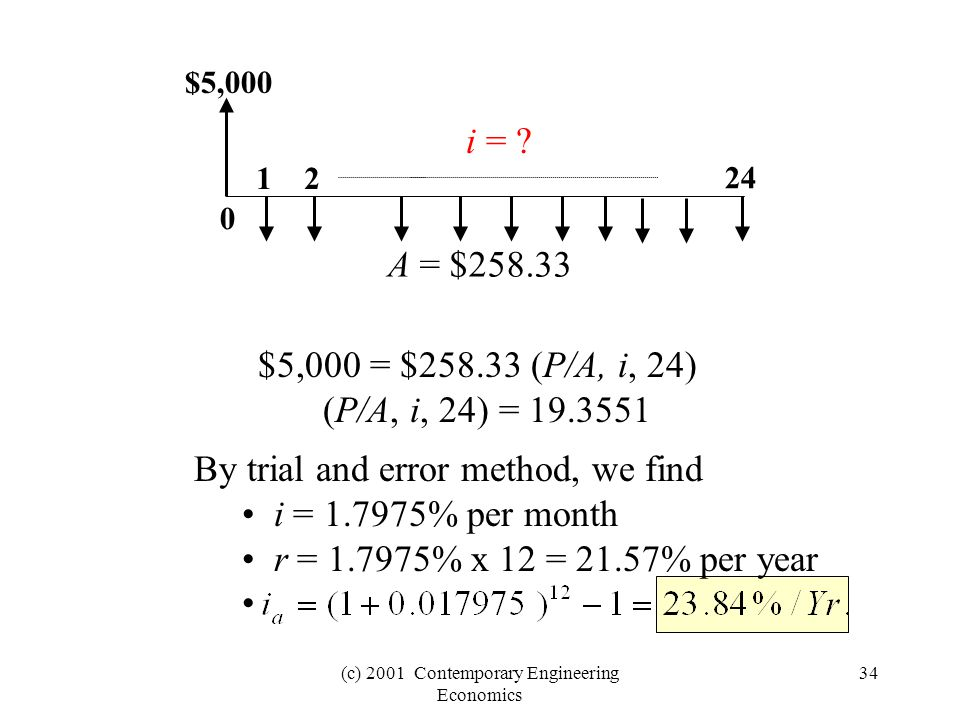 (c) 2001 Contemporary Engineering Economics 34 $5,000 0 24 12 i = .