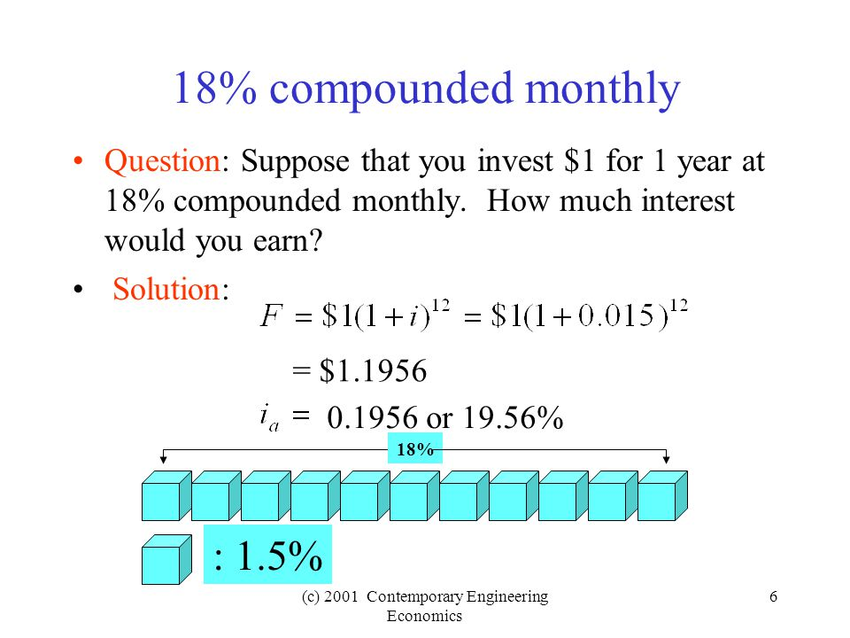 (c) 2001 Contemporary Engineering Economics 6 18% compounded monthly Question: Suppose that you invest $1 for 1 year at 18% compounded monthly.