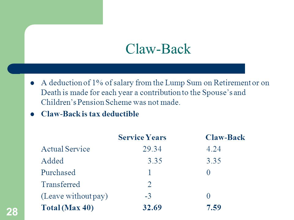 28 Claw-Back A deduction of 1% of salary from the Lump Sum on Retirement or on Death is made for each year a contribution to the Spouse's and Children's Pension Scheme was not made.