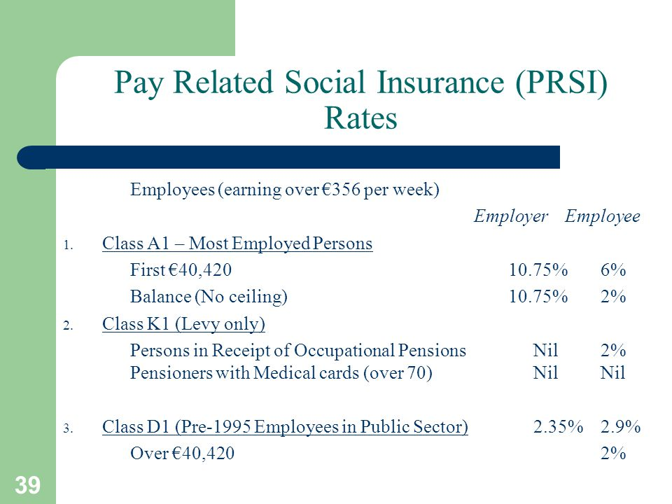 39 Pay Related Social Insurance (PRSI) Rates Employees (earning over €356 per week) Employer Employee 1.