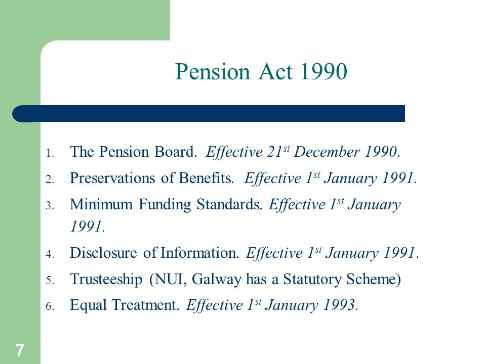 7 Pension Act 1990 1. The Pension Board. Effective 21 st December 1990.