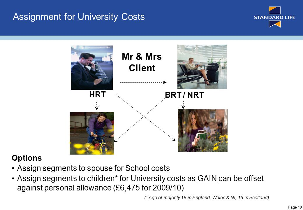 Page 10 Assignment for University Costs Mr & Mrs Client Options Assign segments to spouse for School costs Assign segments to children* for University costs as GAIN can be offset against personal allowance (£6,475 for 2009/10) (* Age of majority 18 in England, Wales & NI, 16 in Scotland) HRT BRT / NRT