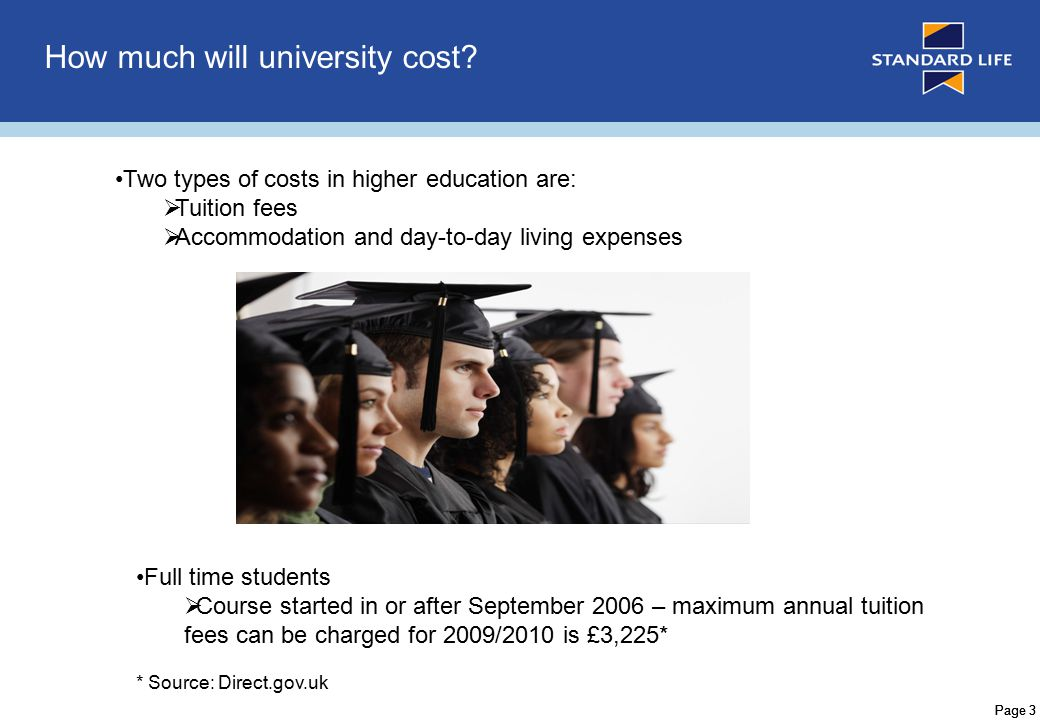 Page 3 How much will university cost.
