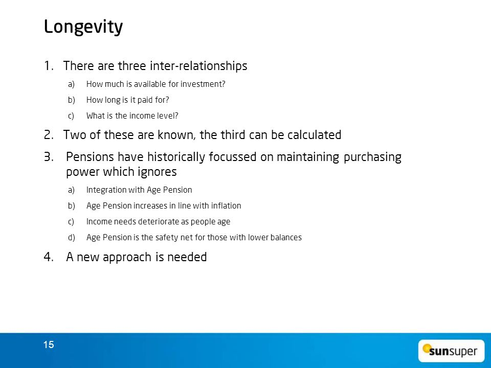 15 Longevity 1.There are three inter-relationships a) How much is available for investment.