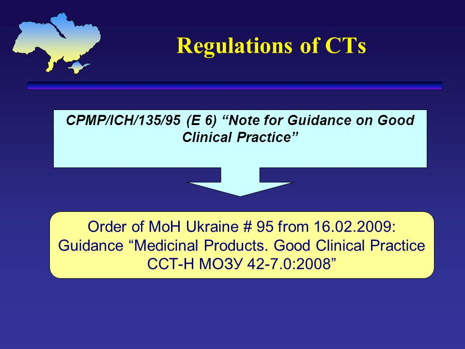 "Regulations of CTs CPMP/ICH/135/95 (E 6) ""Note for Guidance on Good Clinical Practice"" Order of MoH Ukraine # 95 from 16.02.2009: Guidance ""Medicinal"