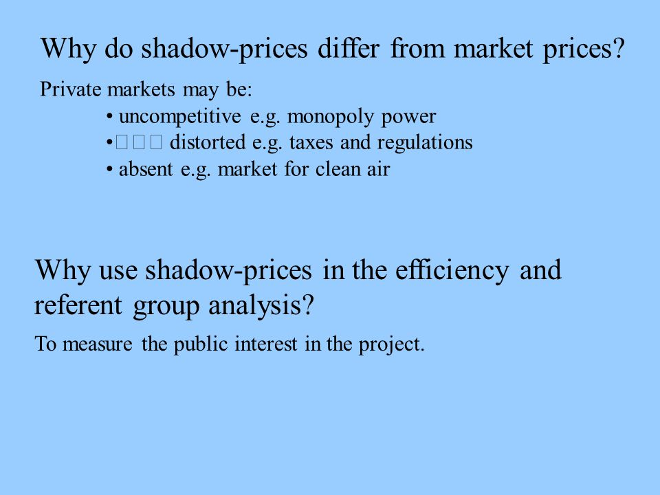 Why do shadow-prices differ from market prices. Private markets may be: uncompetitive e.g.