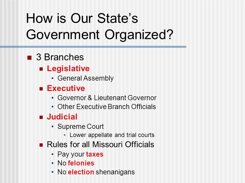 How is Our State's Government Organized? 3 Branches Legislative General Assembly Executive Governor & Lieutenant Governor Other Executive Branch Offic