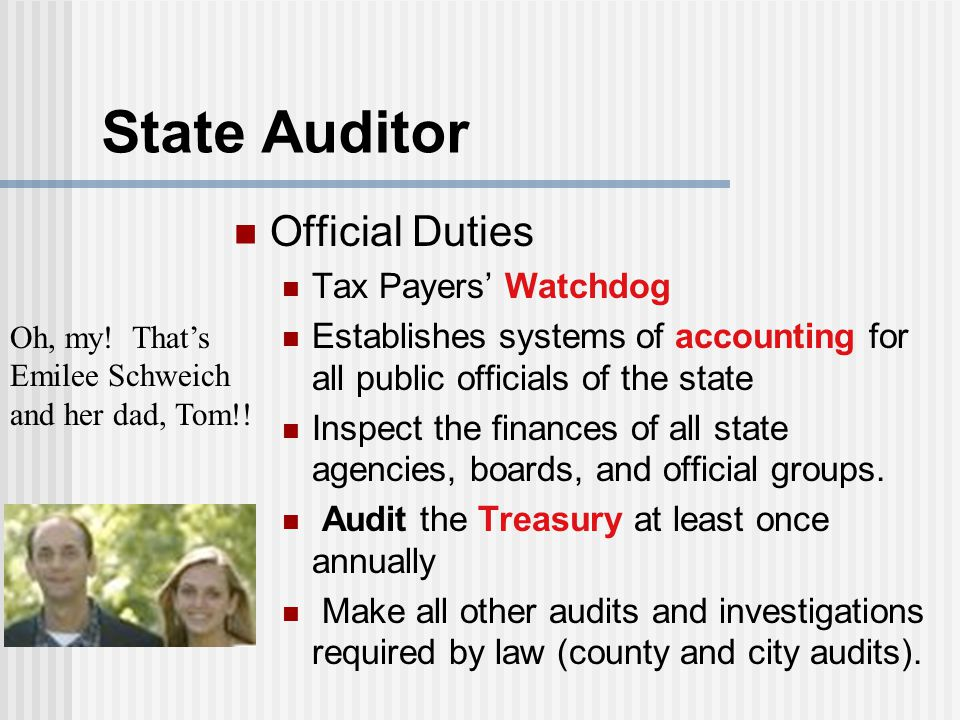 State Auditor Official Duties Tax Payers' Watchdog Establishes systems of accounting for all public officials of the state Inspect the finances of all state agencies, boards, and official groups.