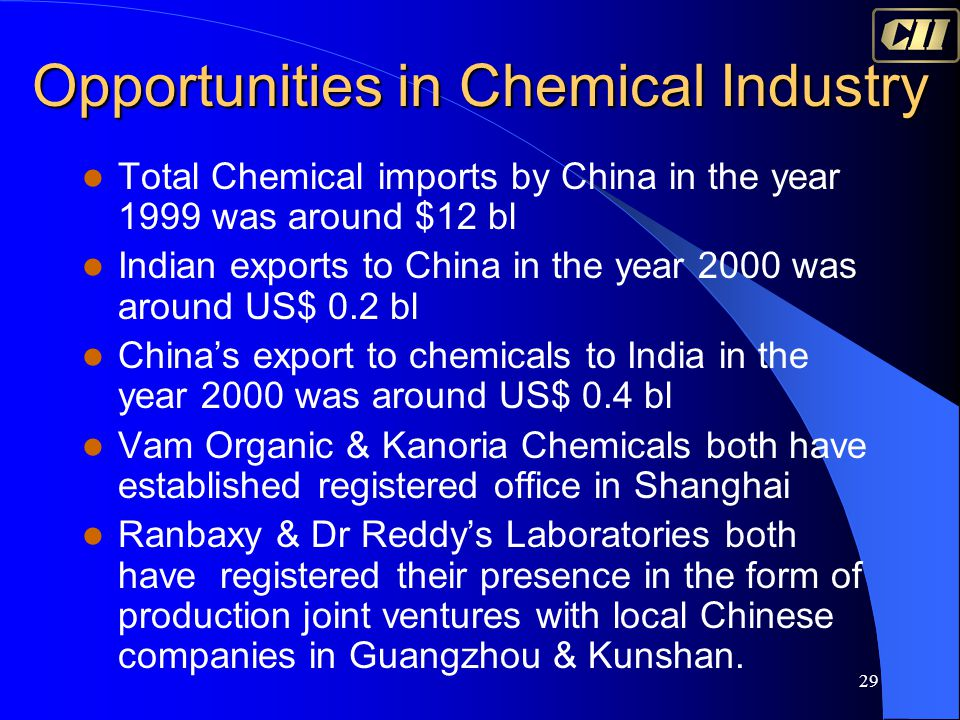 29 Total Chemical imports by China in the year 1999 was around $12 bl Indian exports to China in the year 2000 was around US$ 0.2 bl China's export to