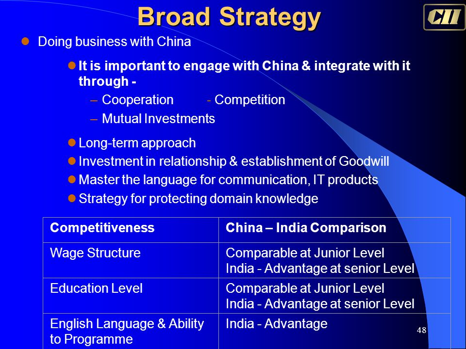 48 Broad Strategy Doing business with China It is important to engage with China & integrate with it through - –Cooperation- Competition –Mutual Inves