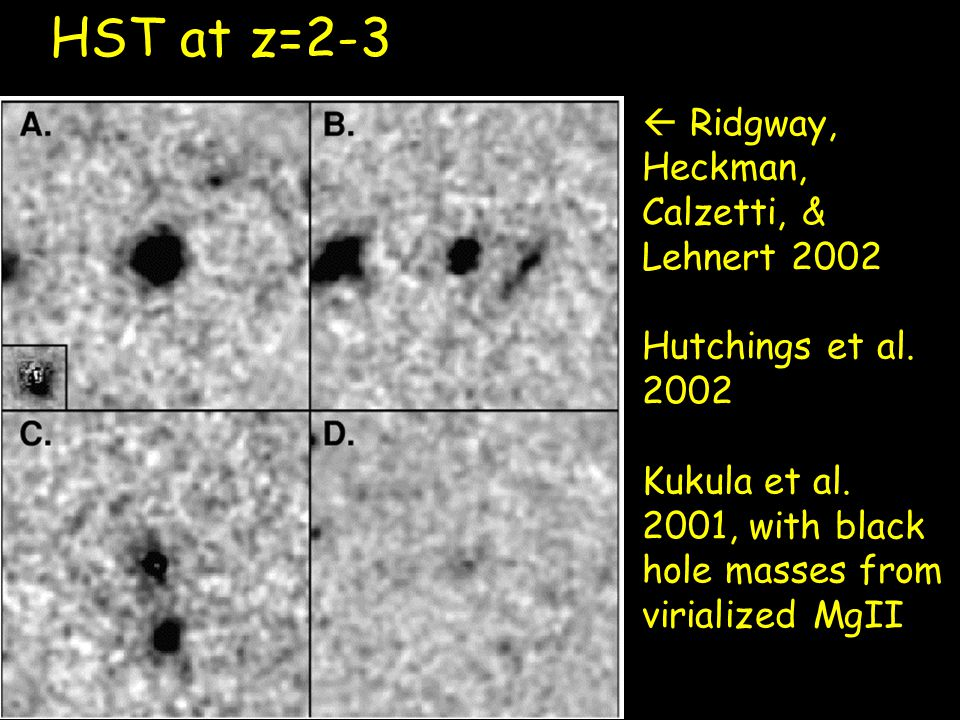  Ridgway, Heckman, Calzetti, & Lehnert 2002 Hutchings et al. 2002 Kukula et al. 2001, with black hole masses from virialized MgII HST at z=2-3