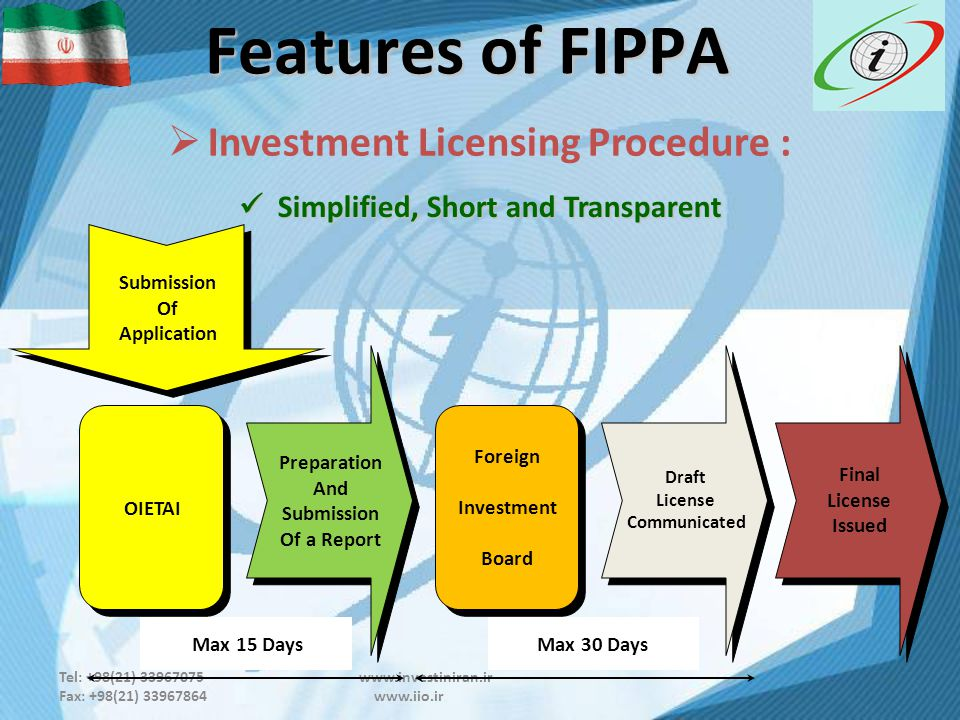 Tel: +98(21) 33967075 www.investiniran.ir Fax: +98(21) 33967864 www.iio.ir Features of FIPPA  Investment Licensing Procedure : Simplified, Short and