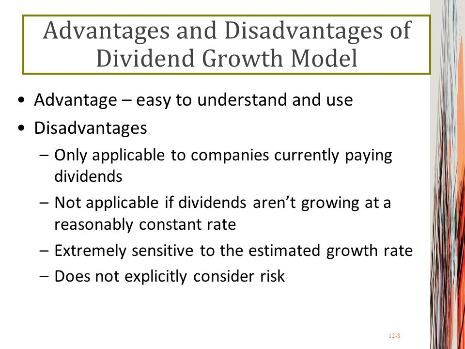 12-9 The SML Approach Use the following information to compute the cost of equity –Risk-free rate, R f –Market risk premium, E(R M ) – R f –Systematic risk of asset, 