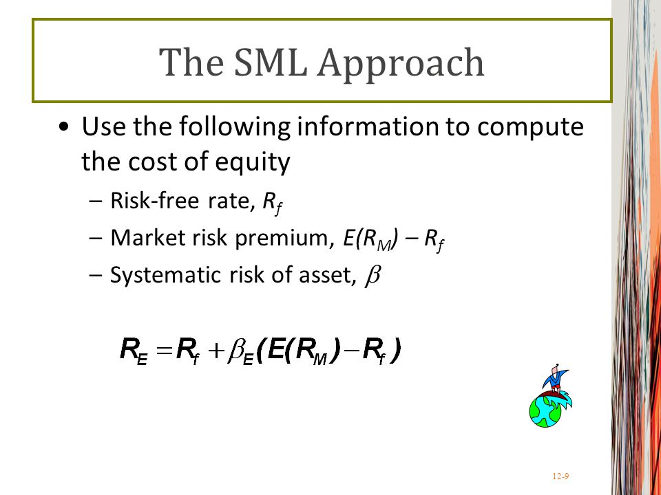 12-10 Example: SML Company's equity beta = 1.2 Current risk-free rate = 7% Expected market risk premium = 6% What is the cost of equity capital?