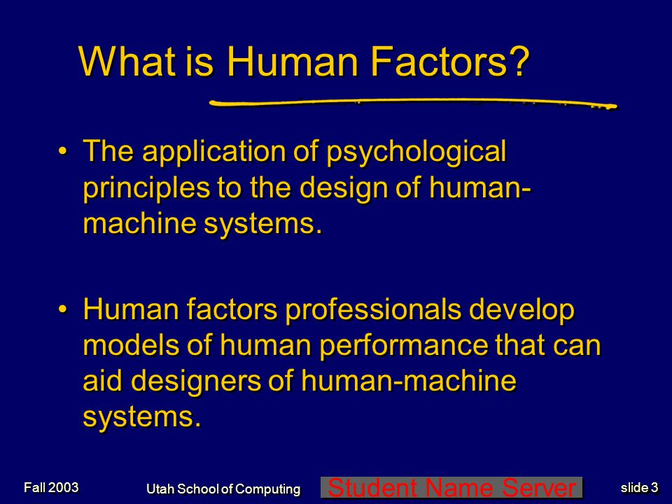 Student Name Server Utah School of Computing slide 24 Fall 2003 Human Considerations in Software Design 2 Consider 5 different users: 3.