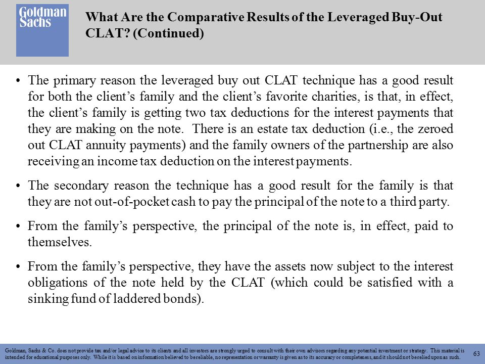 63 What Are the Comparative Results of the Leveraged Buy-Out CLAT.