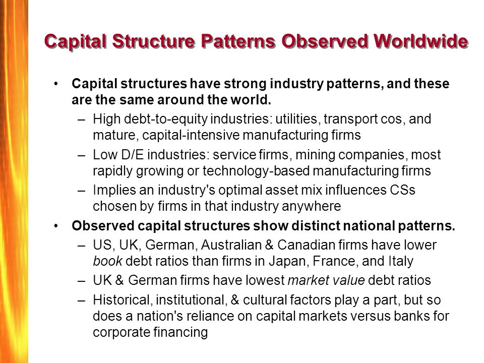 Capital Structure Patterns Observed Worldwide Capital structures have strong industry patterns, and these are the same around the world. –High debt-to