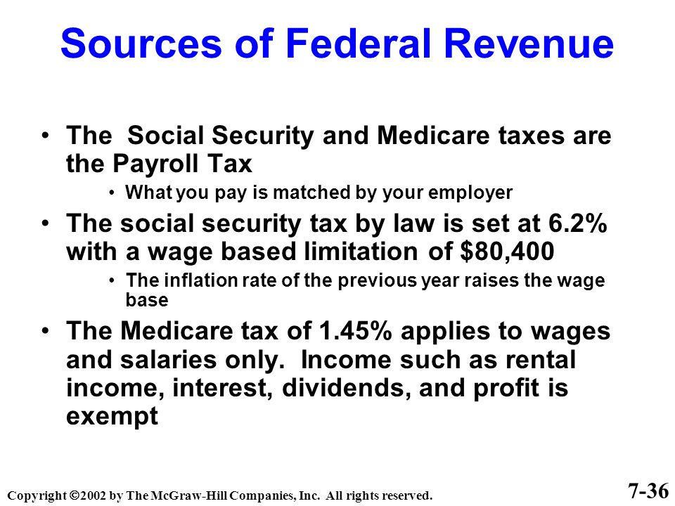 7-36 Sources of Federal Revenue The Social Security and Medicare taxes are the Payroll Tax What you pay is matched by your employer The social security tax by law is set at 6.2% with a wage based limitation of $80,400 The inflation rate of the previous year raises the wage base The Medicare tax of 1.45% applies to wages and salaries only.