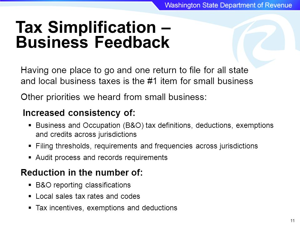 11 Having one place to go and one return to file for all state and local business taxes is the #1 item for small business Other priorities we heard from small business: Increased consistency of:  Business and Occupation (B&O) tax definitions, deductions, exemptions and credits across jurisdictions  Filing thresholds, requirements and frequencies across jurisdictions  Audit process and records requirements Reduction in the number of:  B&O reporting classifications  Local sales tax rates and codes  Tax incentives, exemptions and deductions Tax Simplification – Business Feedback