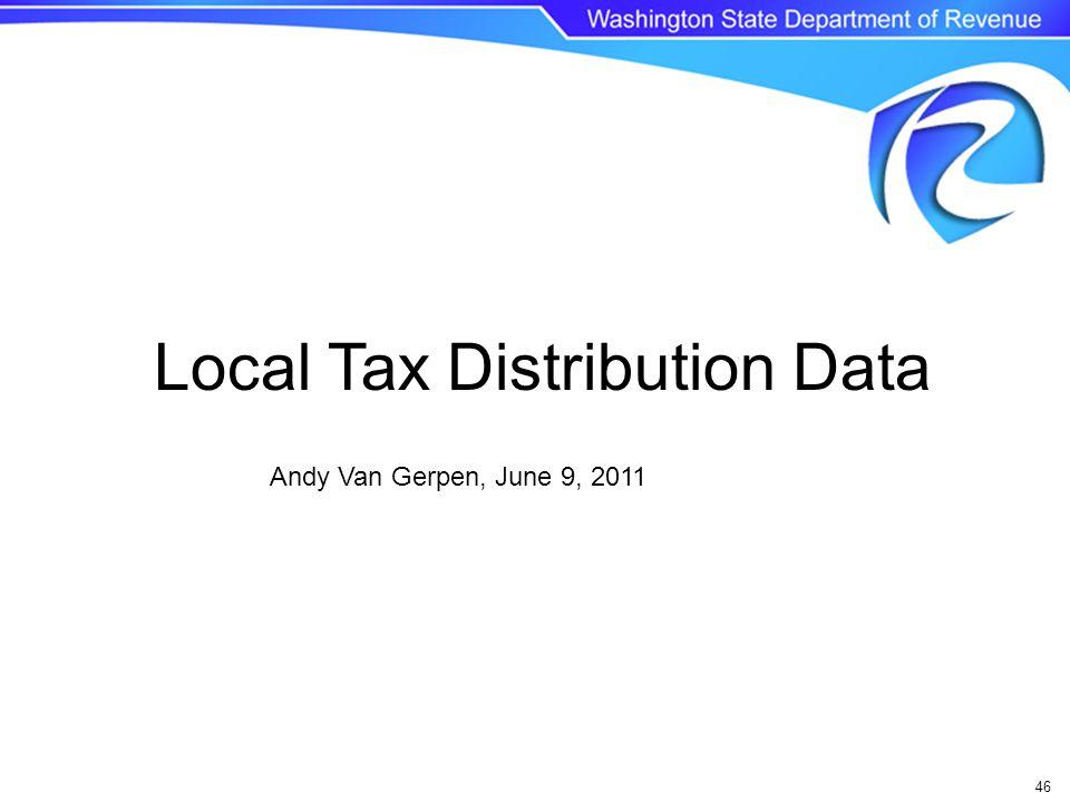 46 Andy Van Gerpen, June 9, 2011 Local Tax Distribution Data