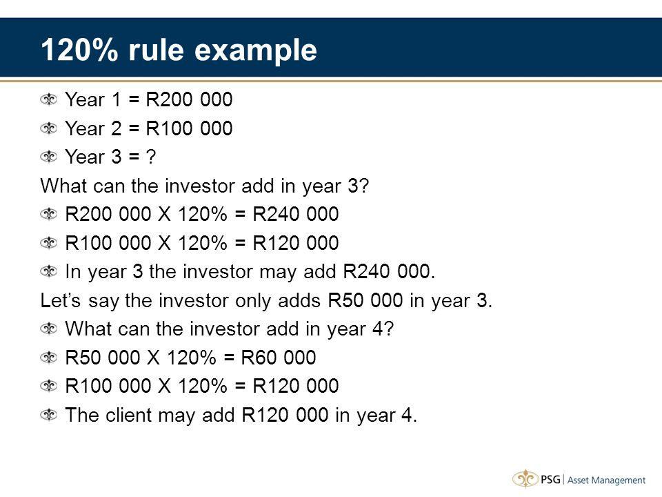 120% rule example Year 1 = R200 000 Year 2 = R100 000 Year 3 = ? What can the investor add in year 3? R200 000 X 120% = R240 000 R100 000 X 120% = R12