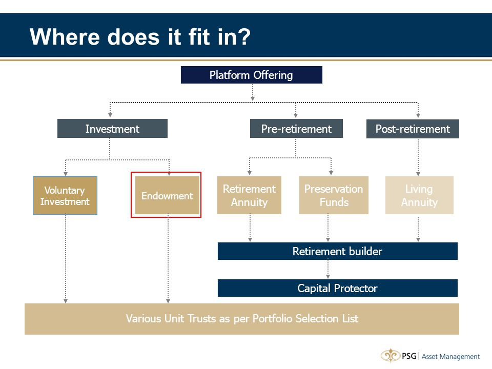 Various Unit Trusts as per Portfolio Selection List Platform Offering Investment Post-retirement Pre-retirement Voluntary Investment Endowment Retirement Annuity Preservation Funds Living Annuity Retirement builder Capital Protector Where does it fit in?