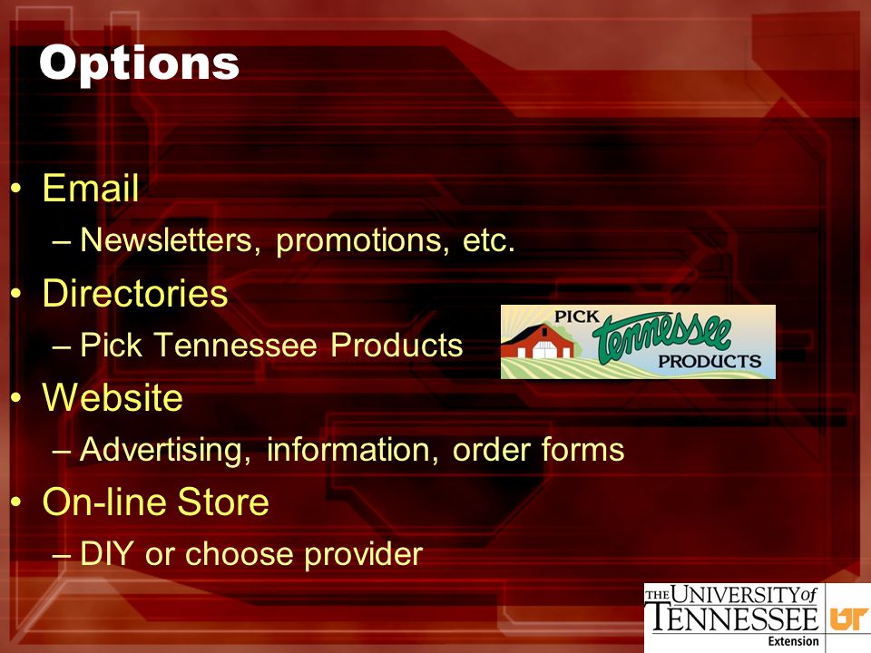Options Email –Newsletters, promotions, etc.