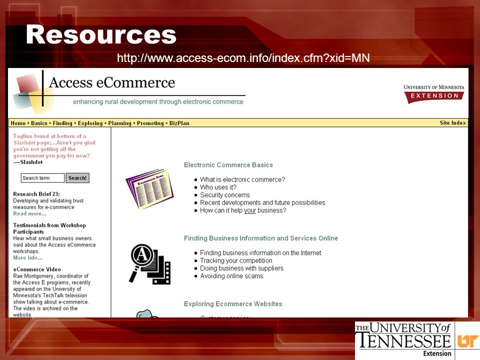 Resources http://www.access-ecom.info/index.cfm xid=MN
