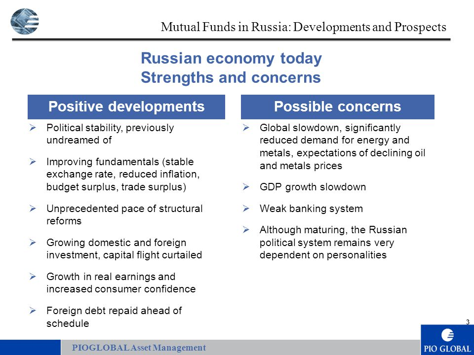 3 Mutual Funds in Russia: Developments and Prospects Positive developments  Political stability, previously undreamed of  Improving fundamentals (stable exchange rate, reduced inflation, budget surplus, trade surplus)  Unprecedented pace of structural reforms  Growing domestic and foreign investment, capital flight curtailed  Growth in real earnings and increased consumer confidence  Foreign debt repaid ahead of schedule Possible concerns  Global slowdown, significantly reduced demand for energy and metals, expectations of declining oil and metals prices  GDP growth slowdown  Weak banking system  Although maturing, the Russian political system remains very dependent on personalities Russian economy today Strengths and concerns PIOGLOBAL Asset Management