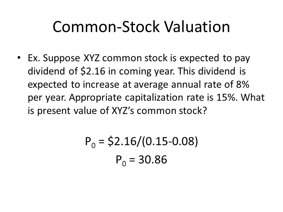 Common-Stock Valuation Ex.