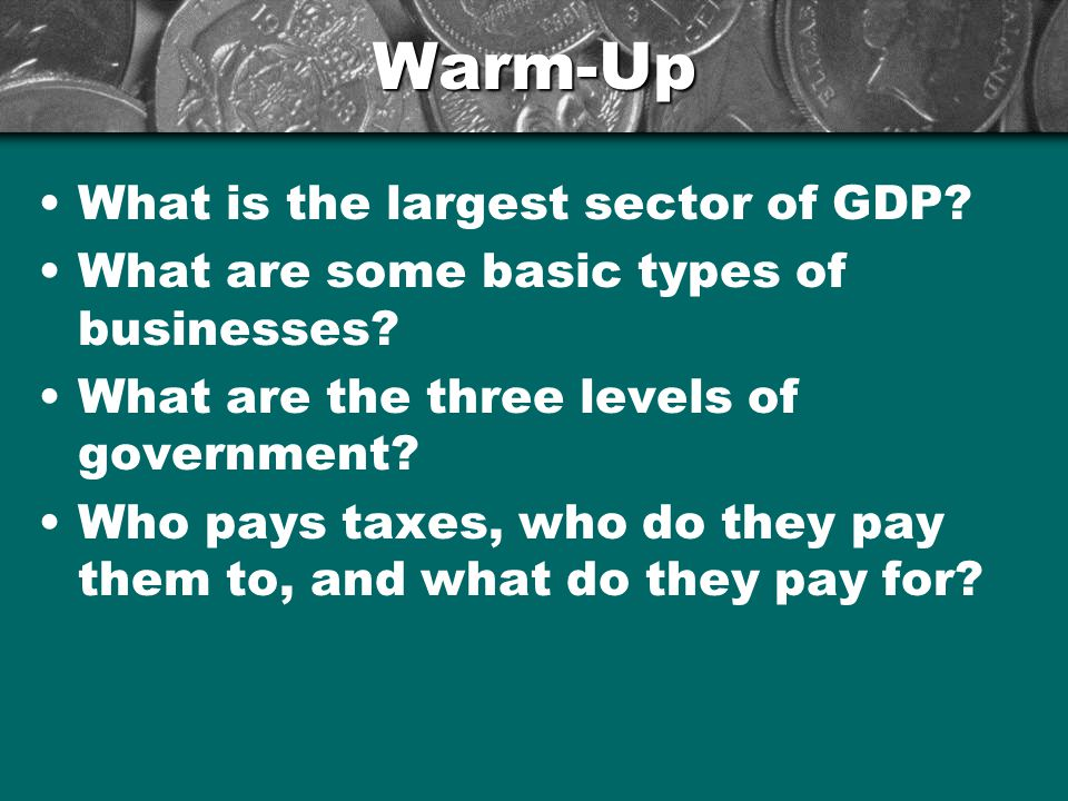 Warm-Up What is the largest sector of GDP. What are some basic types of businesses.